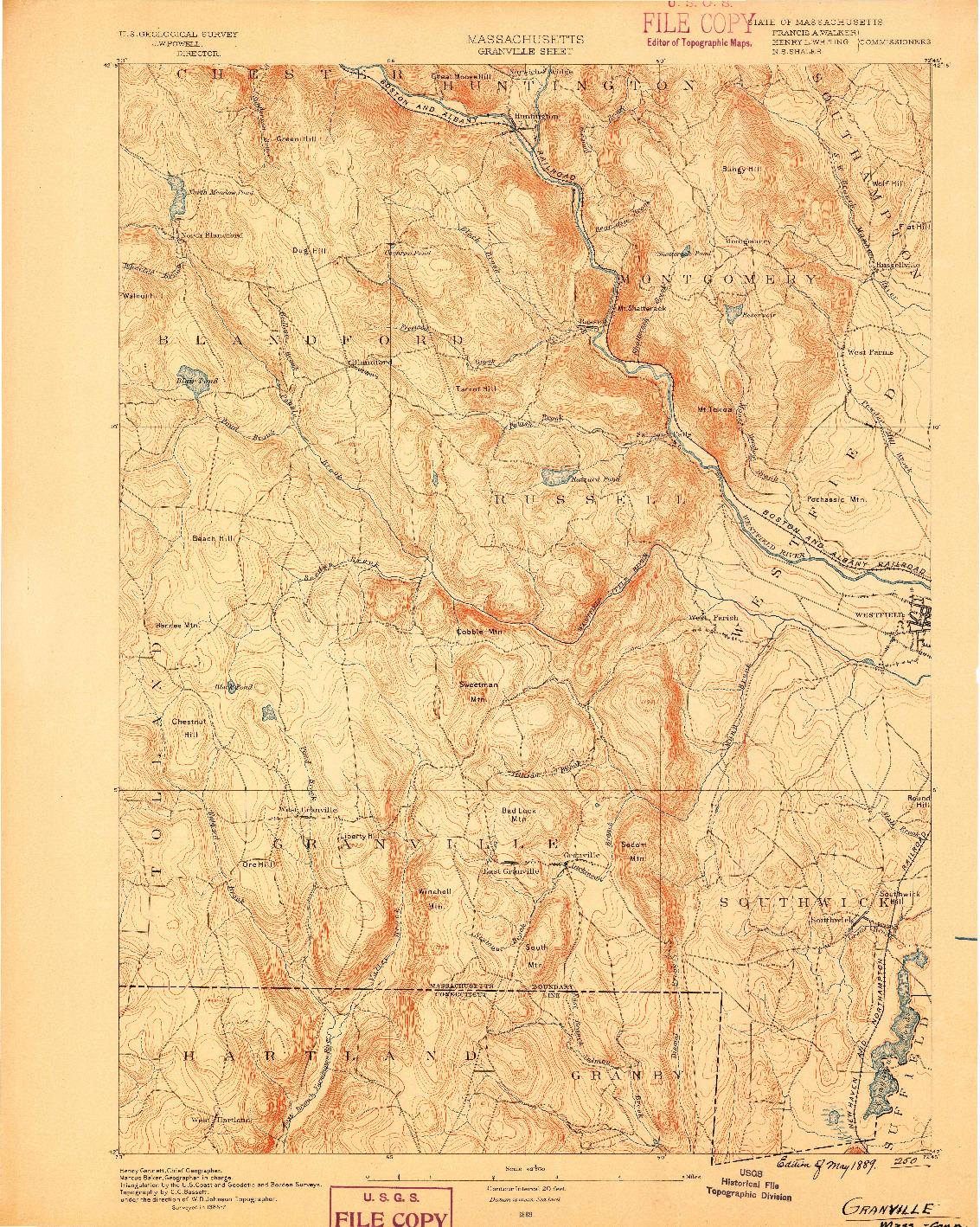USGS 1:62500-SCALE QUADRANGLE FOR GRANVILLE, MA 1889
