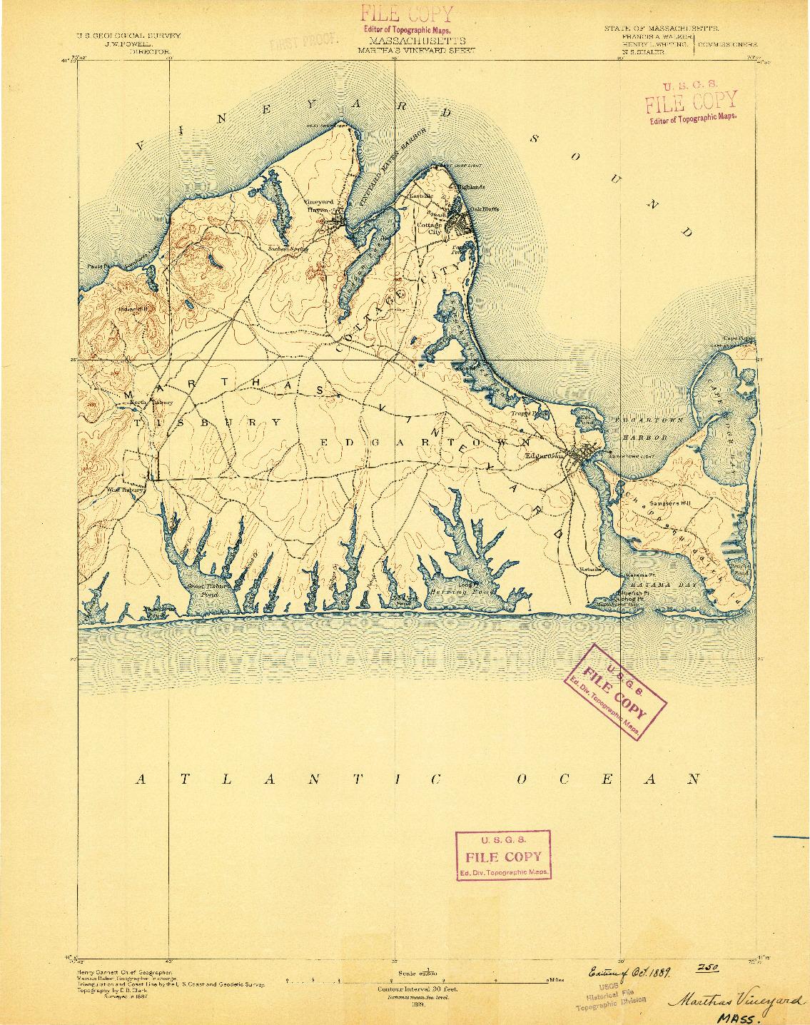 USGS 1:62500-SCALE QUADRANGLE FOR MARTHAS VINEYARD, MA 1889