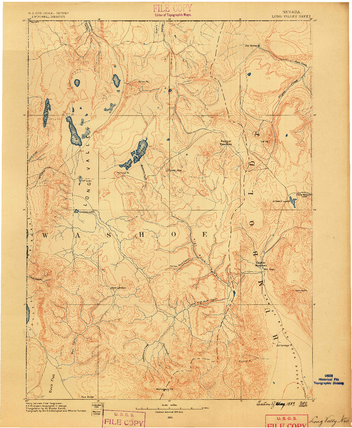 USGS 1:250000-SCALE QUADRANGLE FOR LONG VALLEY, NV 1889