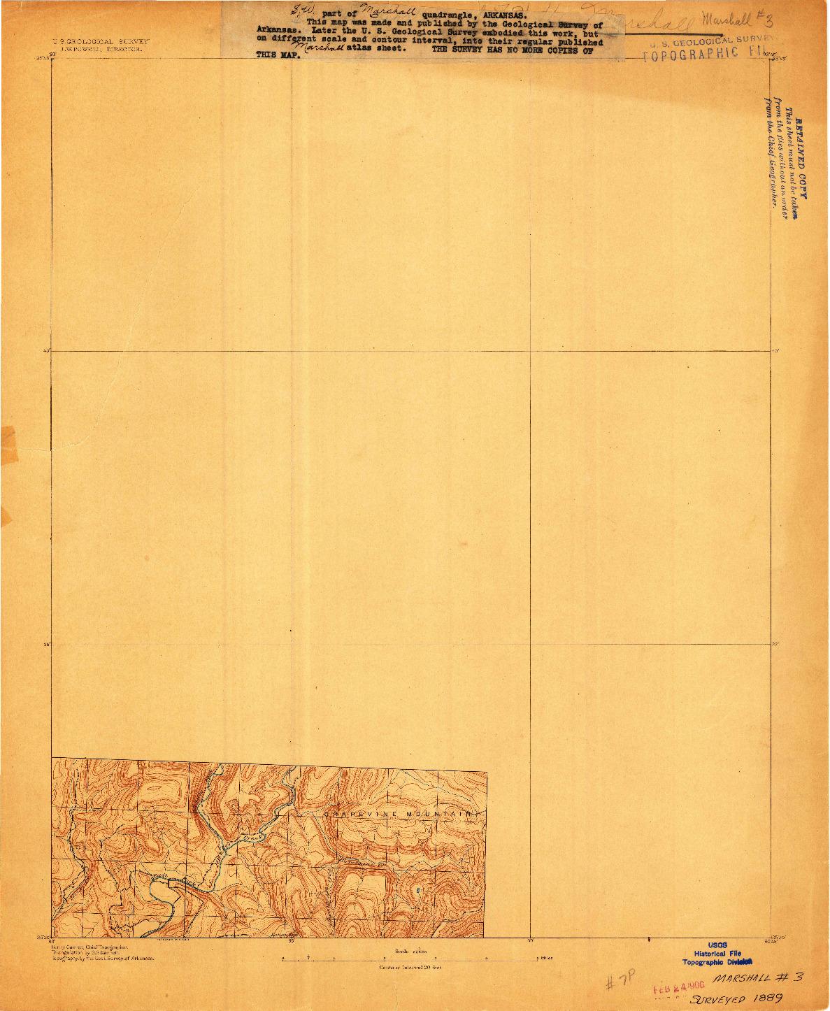 USGS 1:62500-SCALE QUADRANGLE FOR MARSHALL #3, AR 1889