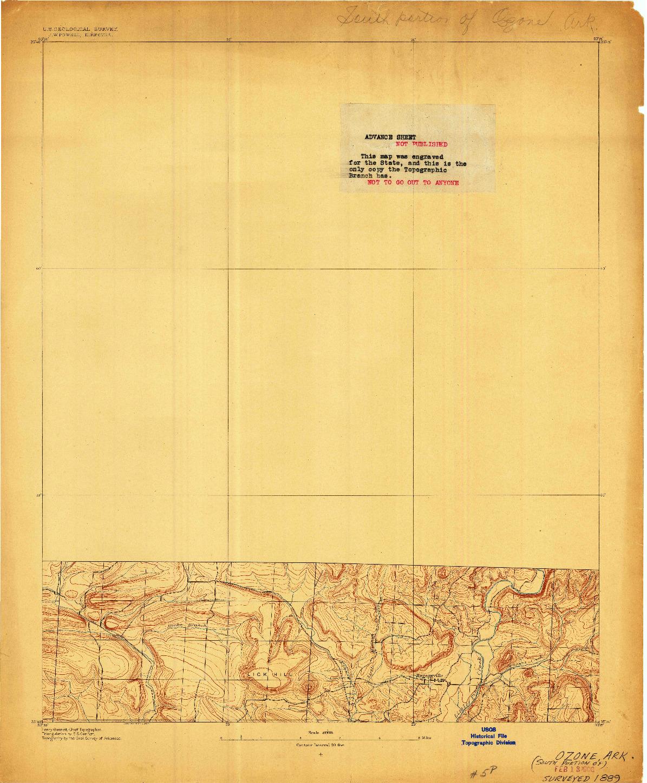 USGS 1:62500-SCALE QUADRANGLE FOR OZONE, AR 1889