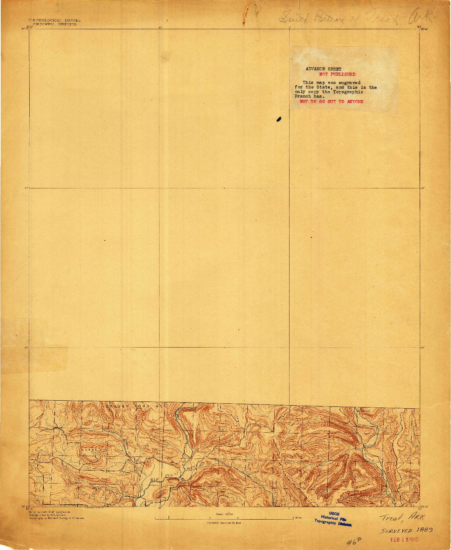 USGS 1:62500-SCALE QUADRANGLE FOR TREAT, AR 1889
