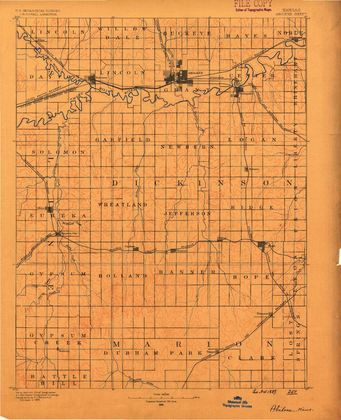 USGS 1:125000-SCALE QUADRANGLE FOR ABILENE, KS 1889