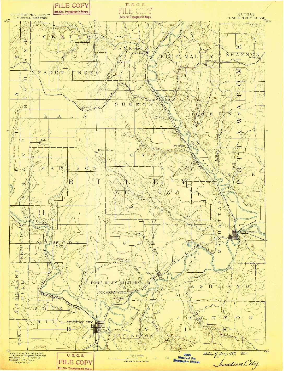 USGS 1:125000-SCALE QUADRANGLE FOR JUNCTION CITY, KS 1889