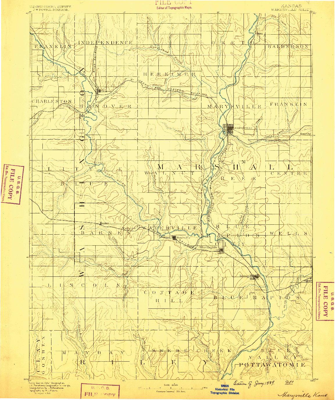 USGS 1:125000-SCALE QUADRANGLE FOR MARYSVILLE, KS 1889