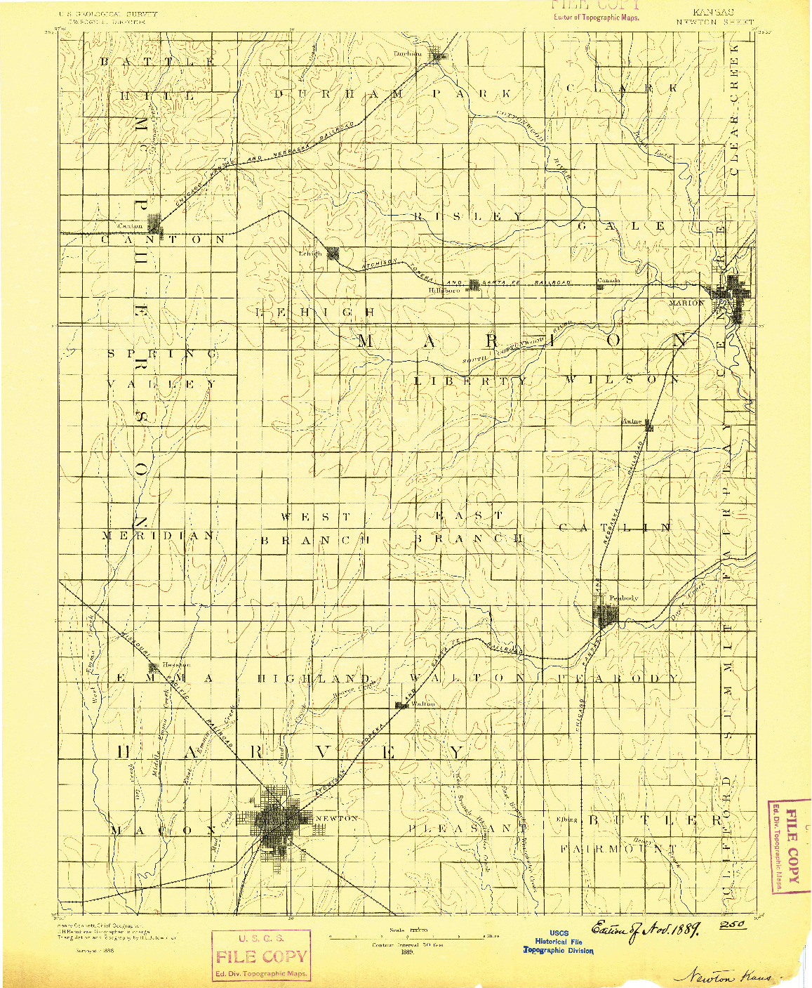 USGS 1:125000-SCALE QUADRANGLE FOR NEWTON, KS 1889
