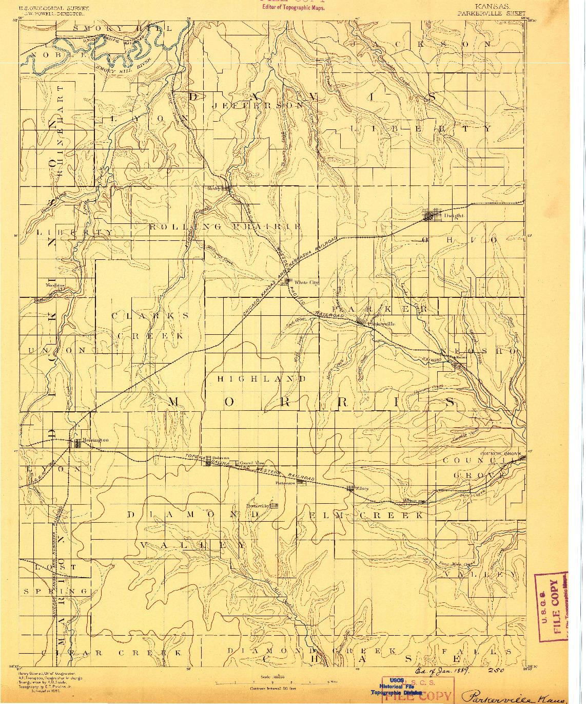 USGS 1:125000-SCALE QUADRANGLE FOR PARKERVILLE, KS 1889