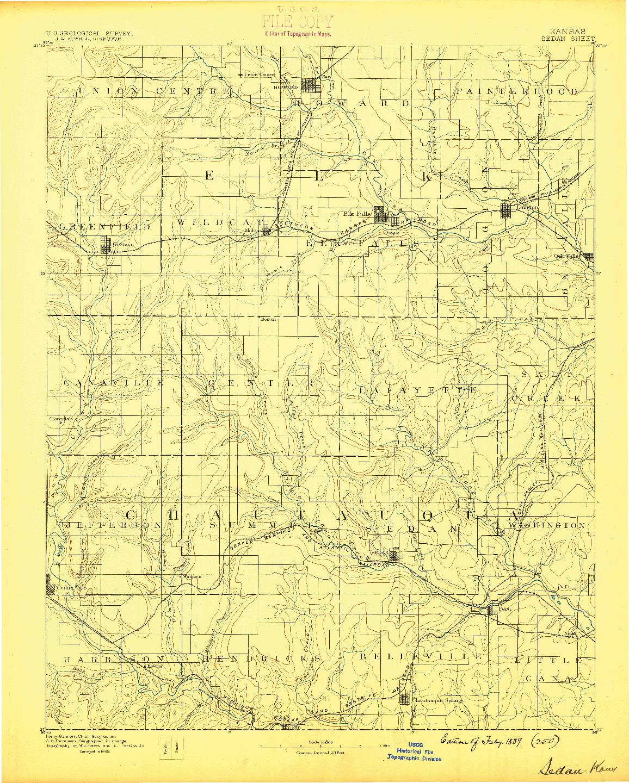 USGS 1:125000-SCALE QUADRANGLE FOR SEDAN, KS 1889