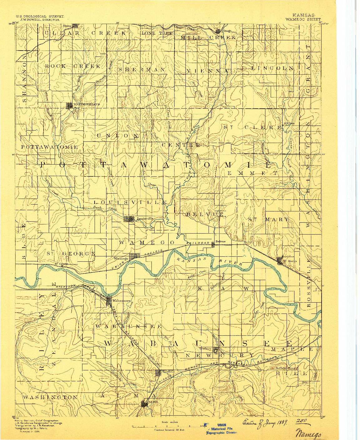 USGS 1:125000-SCALE QUADRANGLE FOR WAMEGO, KS 1889