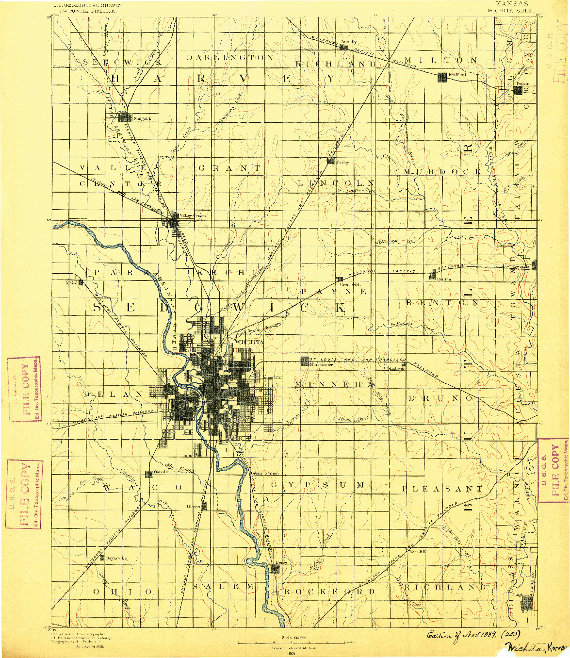 USGS 1:125000-SCALE QUADRANGLE FOR WICHITA, KS 1889