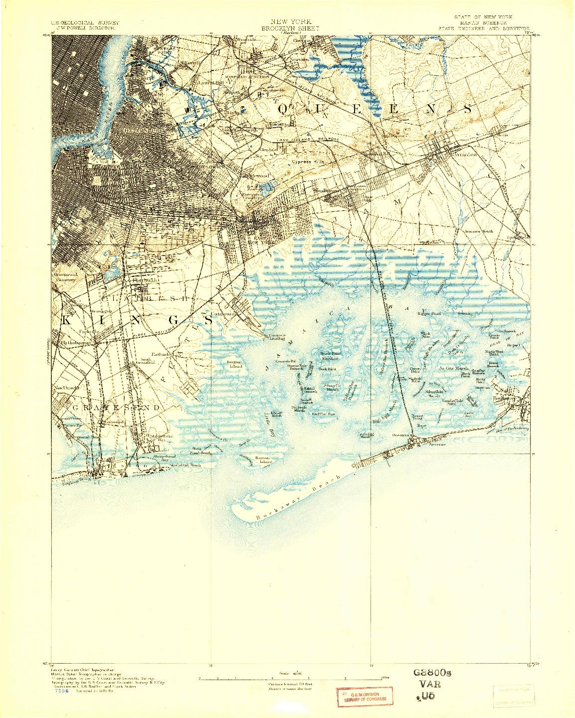 USGS 1:62500-SCALE QUADRANGLE FOR BROOKLYN, NY 1889