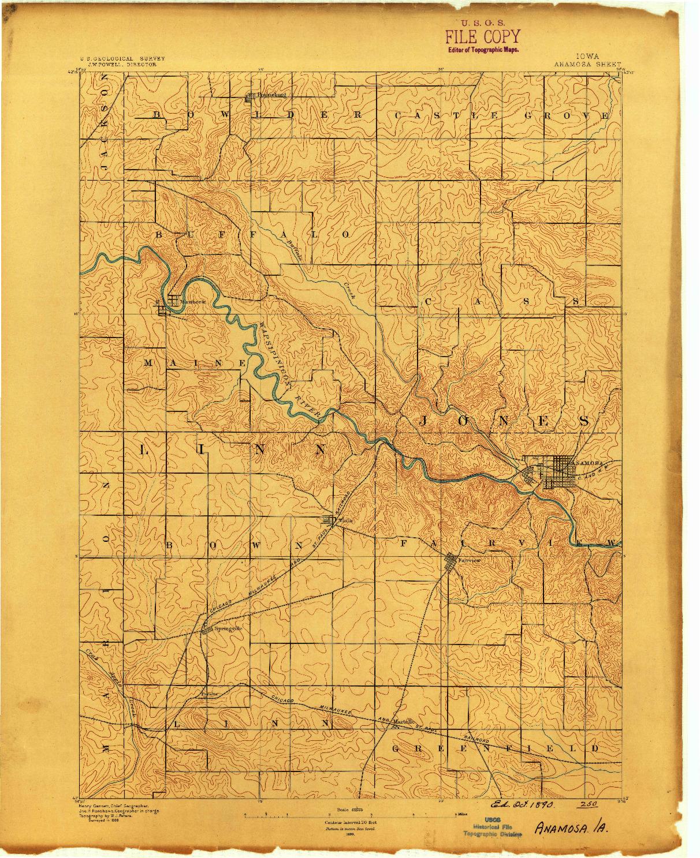 USGS 1:62500-SCALE QUADRANGLE FOR ANAMOSA, IA 1890