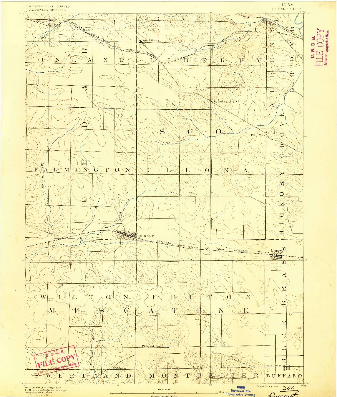 USGS 1:62500-SCALE QUADRANGLE FOR DURANT, IA 1890