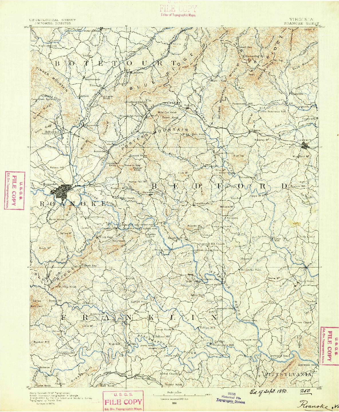 USGS 1:125000-SCALE QUADRANGLE FOR ROANOKE, VA 1890