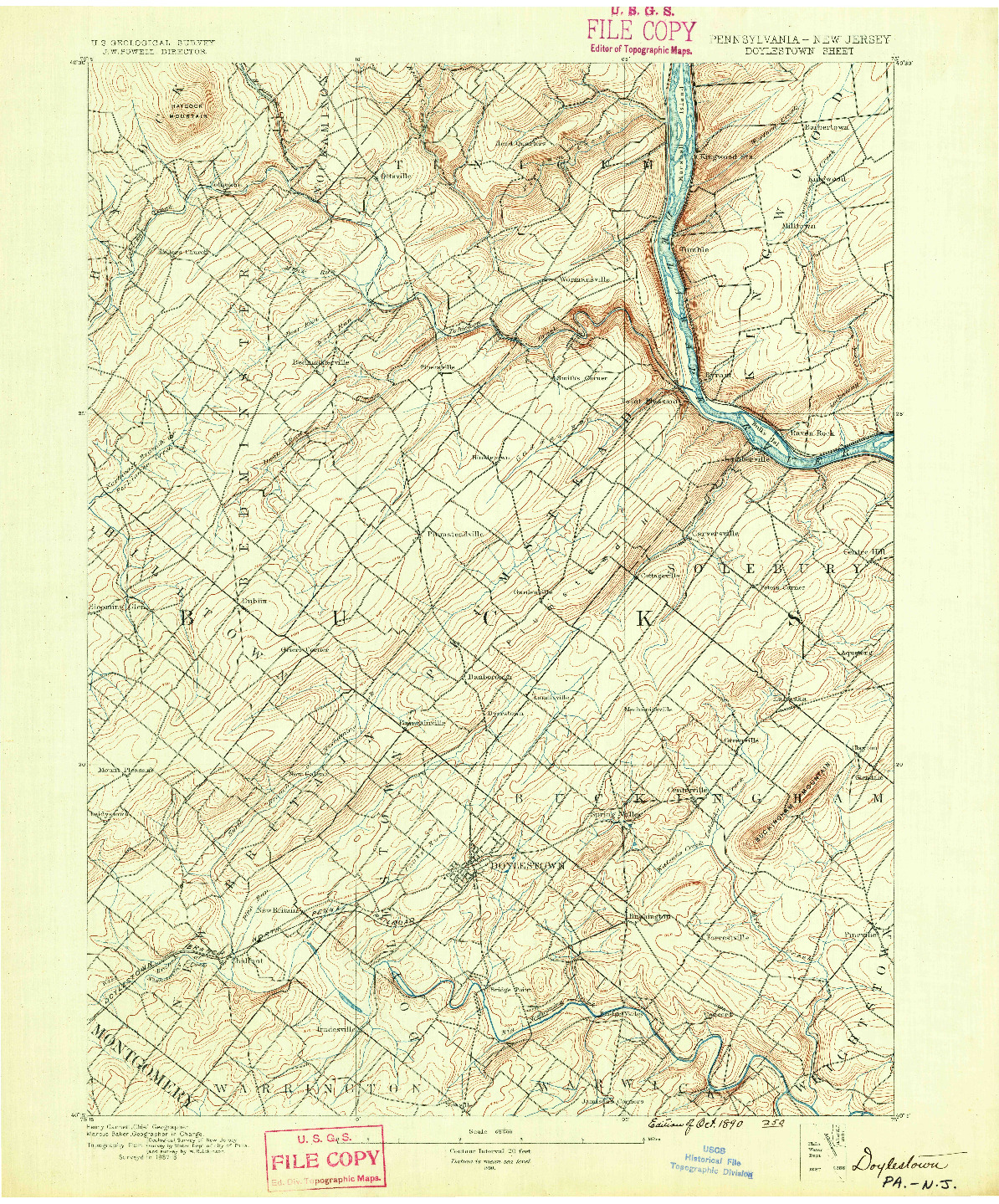 USGS 1:62500-SCALE QUADRANGLE FOR DOYLESTOWN, PA 1890