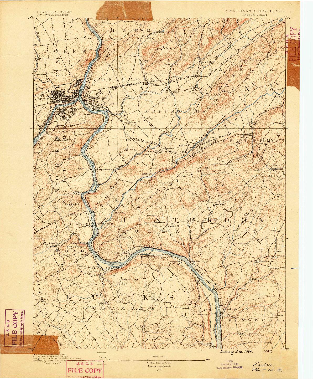 USGS 1:62500-SCALE QUADRANGLE FOR EASTON, PA 1890