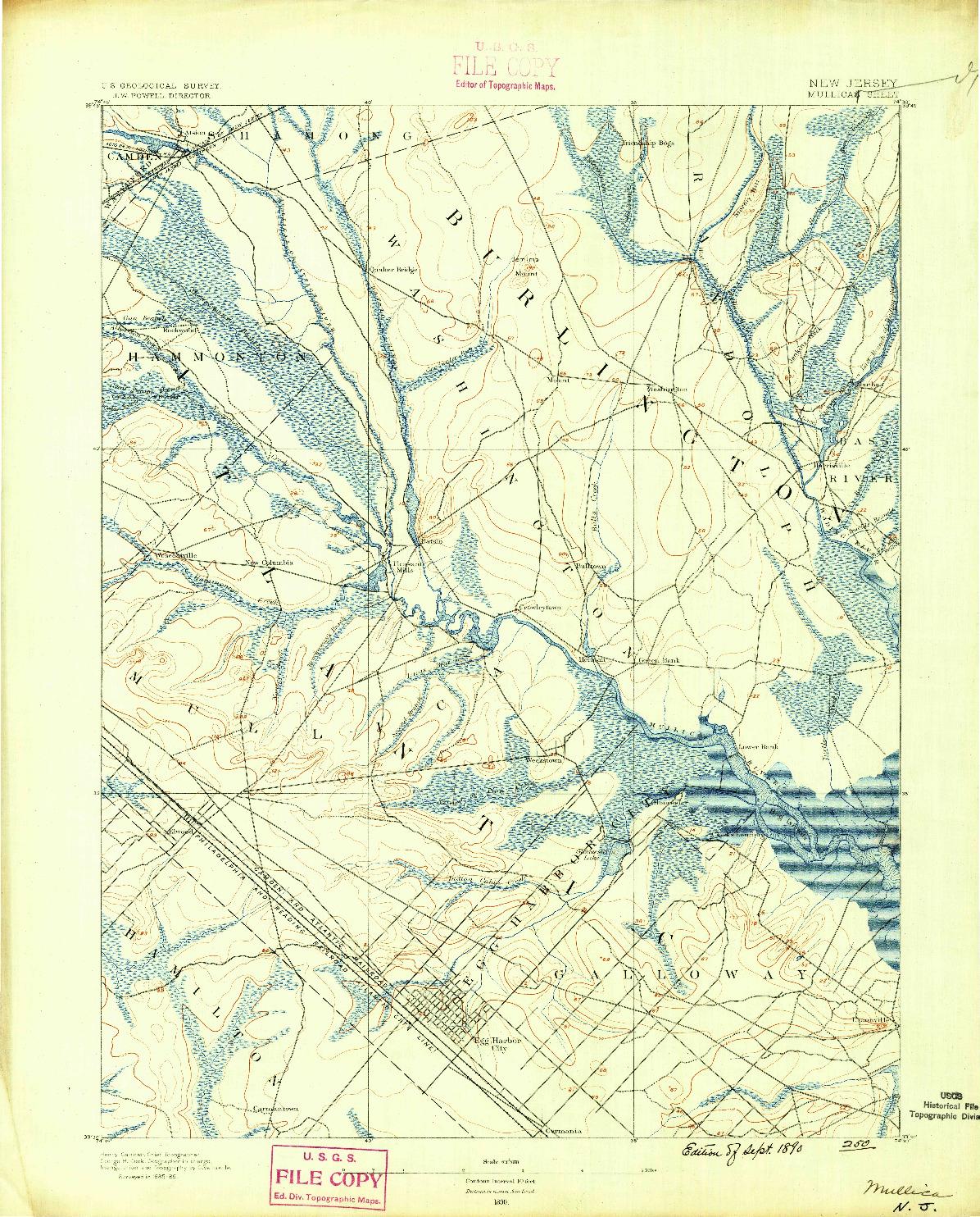 USGS 1:62500-SCALE QUADRANGLE FOR MULLICA, NJ 1890