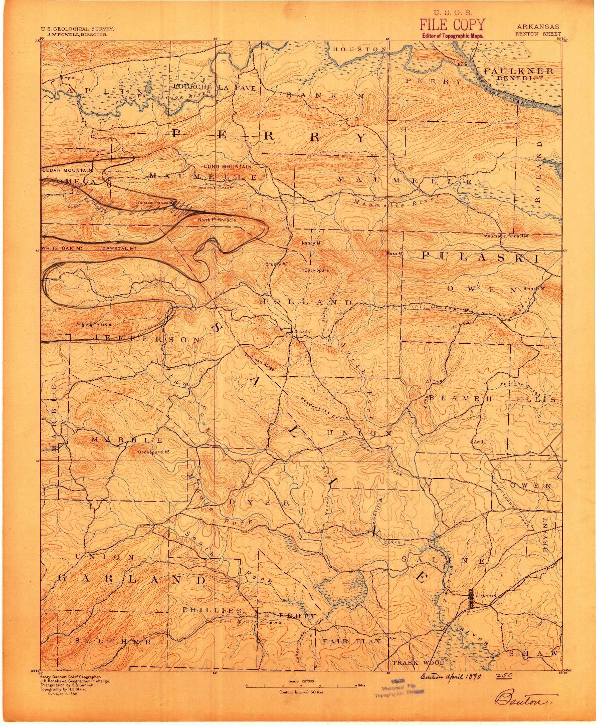 USGS 1:125000-SCALE QUADRANGLE FOR BENTON, AR 1890