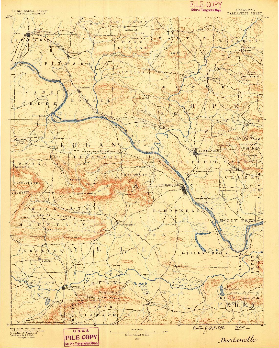 USGS 1:125000-SCALE QUADRANGLE FOR DARDANELLE, AR 1890