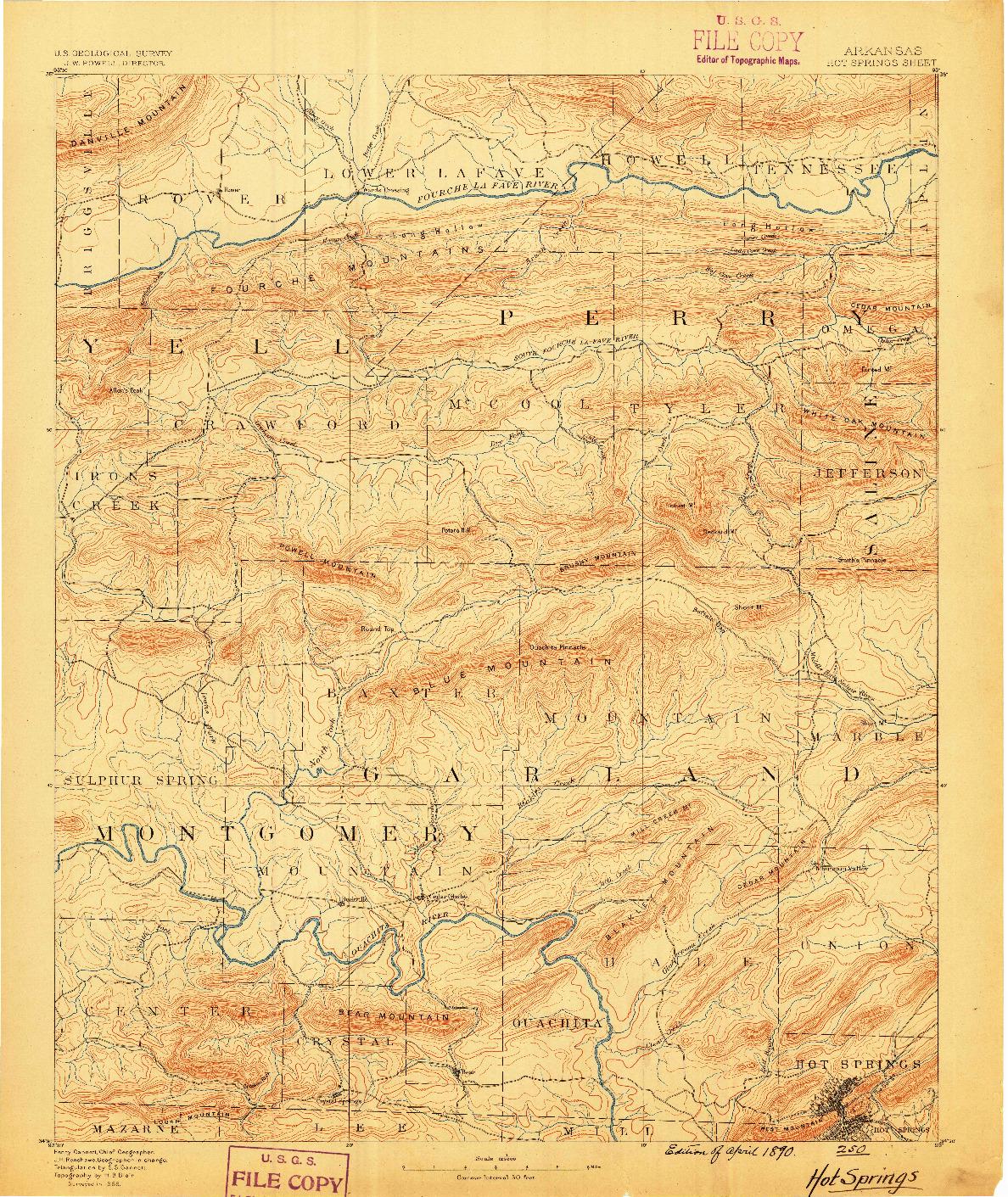 USGS 1:125000-SCALE QUADRANGLE FOR HOT SPRINGS, AR 1890