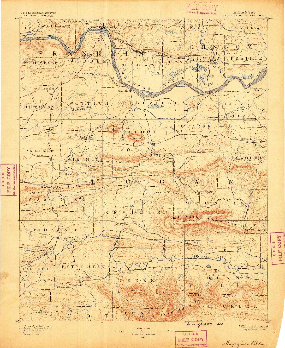 USGS 1:125000-SCALE QUADRANGLE FOR MAGAZINE MOUNTAIN, AR 1890