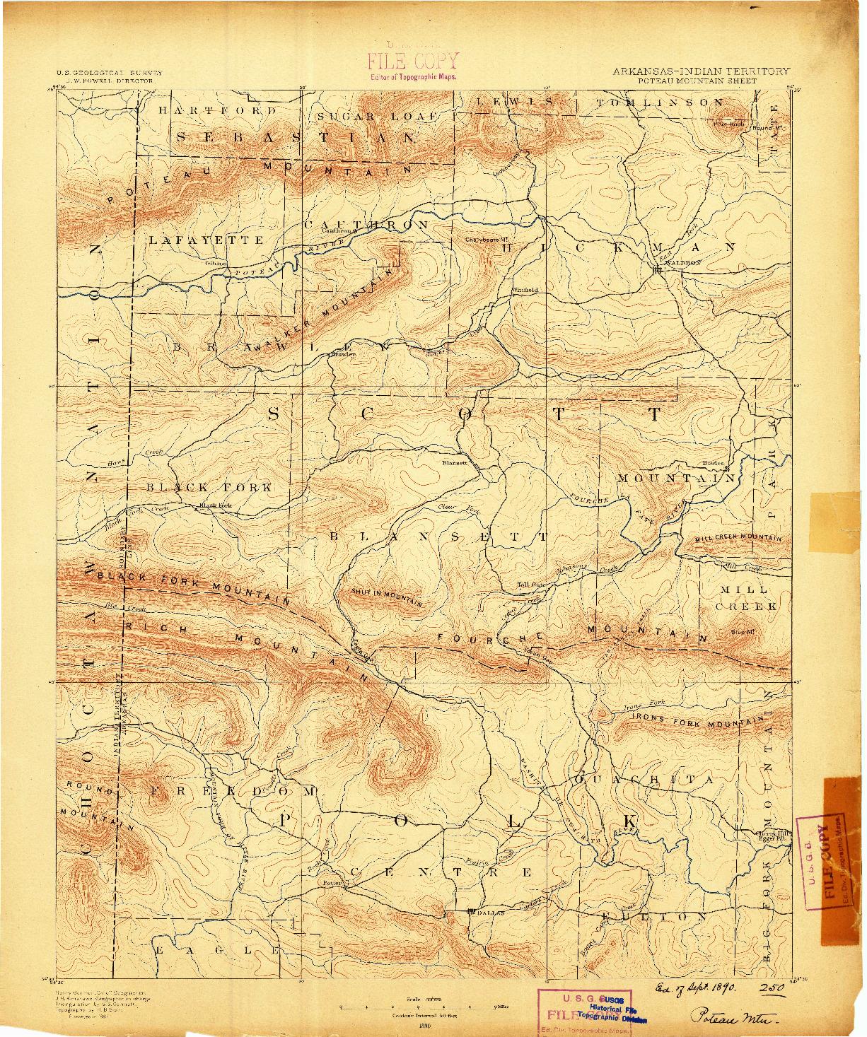 USGS 1:125000-SCALE QUADRANGLE FOR POTEAU MOUNTAIN, AR 1890