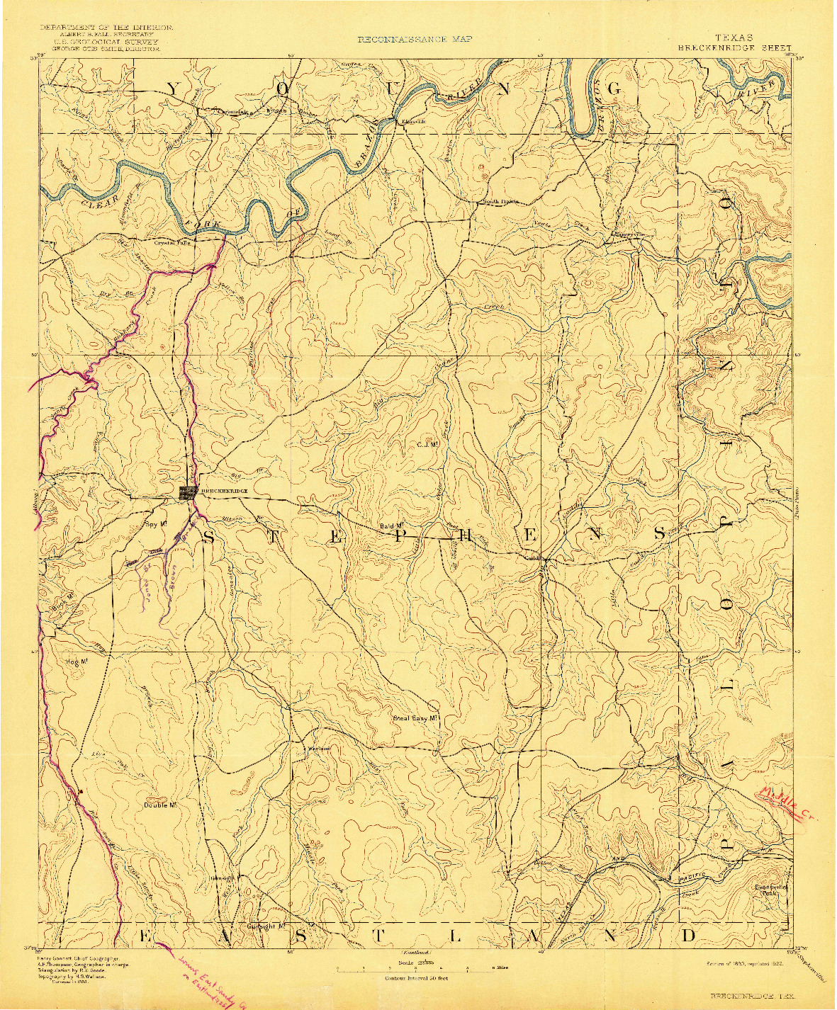 USGS 1:125000-SCALE QUADRANGLE FOR BRECKENRIDGE, TX 1890