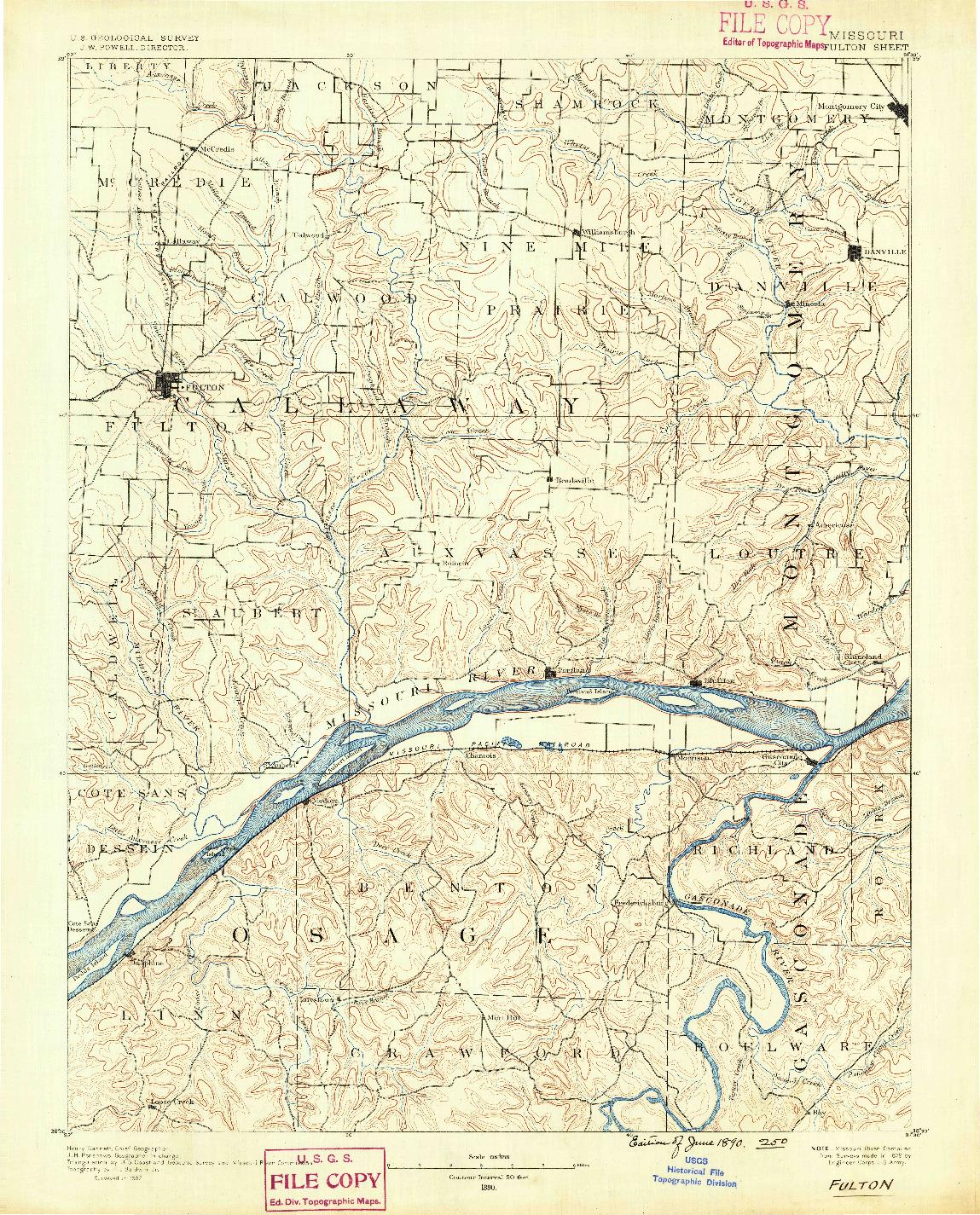 USGS 1:125000-SCALE QUADRANGLE FOR FULTON, MO 1890