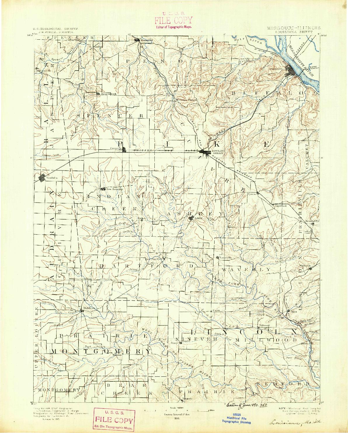 USGS 1:125000-SCALE QUADRANGLE FOR LOUISIANA, MO 1890