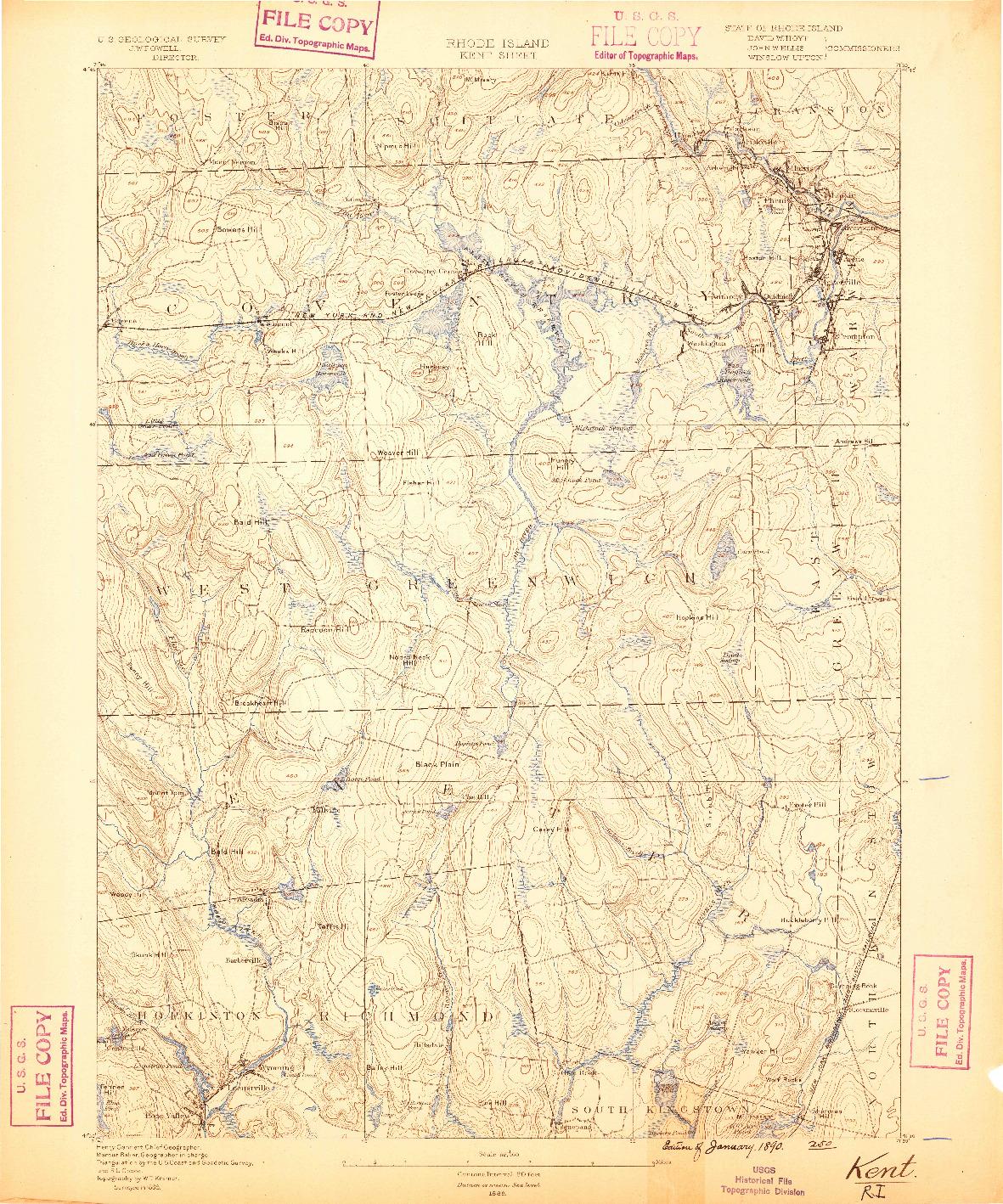USGS 1:62500-SCALE QUADRANGLE FOR KENT, RI 1890