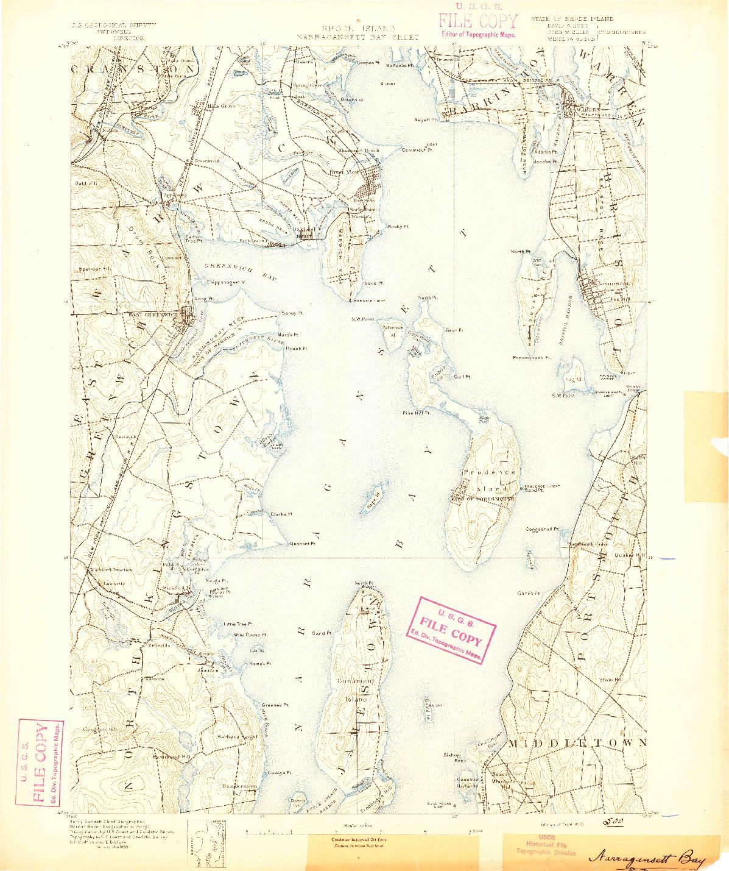 USGS 1:62500-SCALE QUADRANGLE FOR NARRAGANSETT BAY, RI 1890