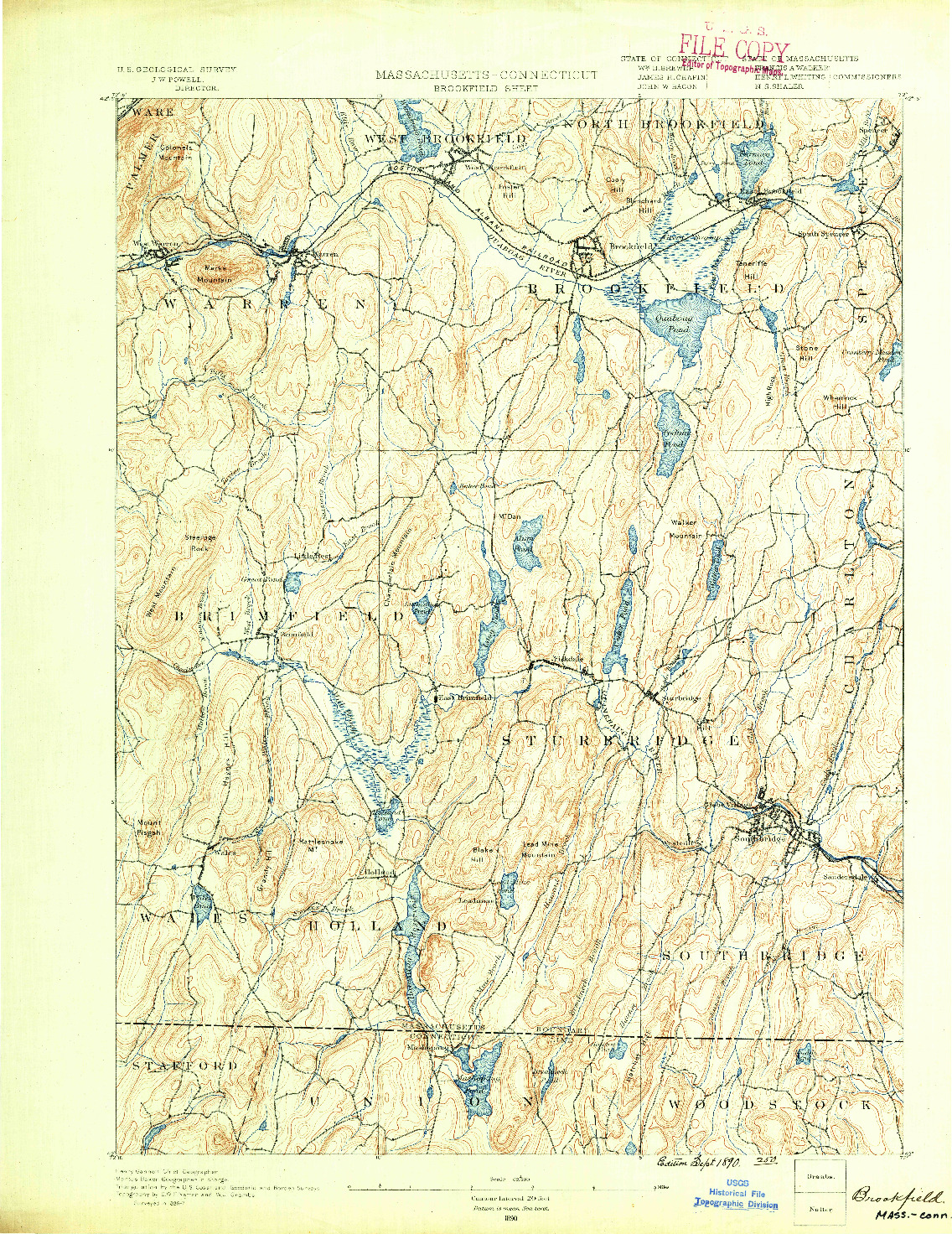 USGS 1:62500-SCALE QUADRANGLE FOR BROOKFIELD, MA 1890