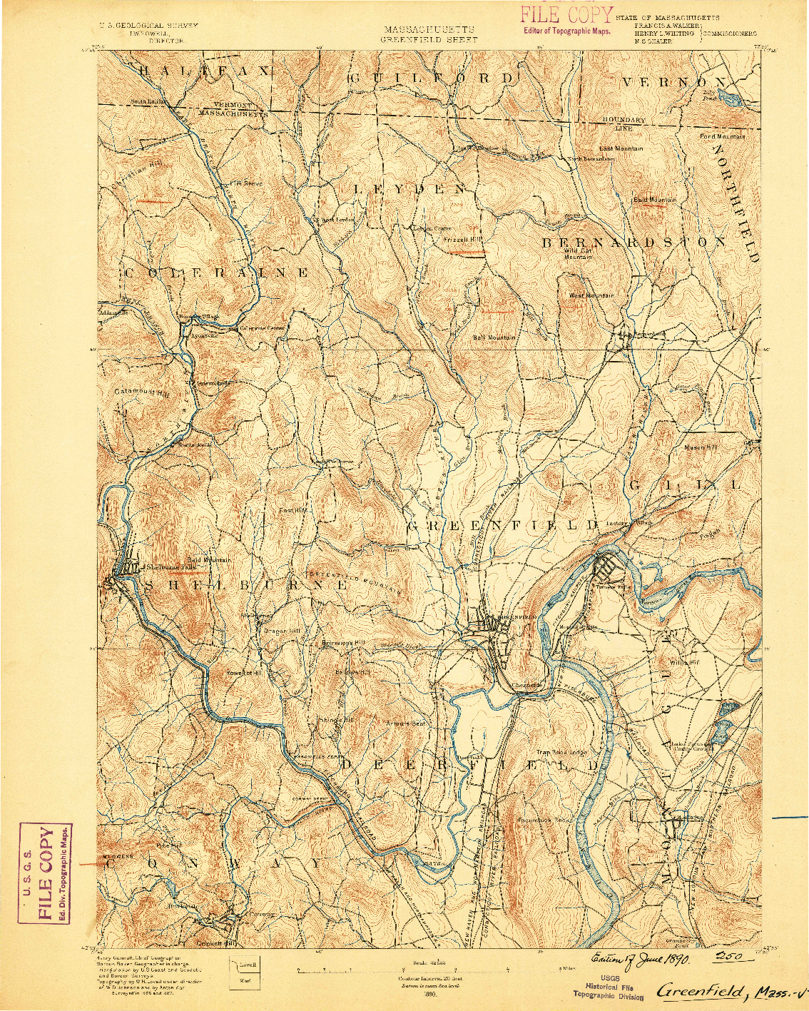 USGS 1:62500-SCALE QUADRANGLE FOR GREENFIELD, MA 1890