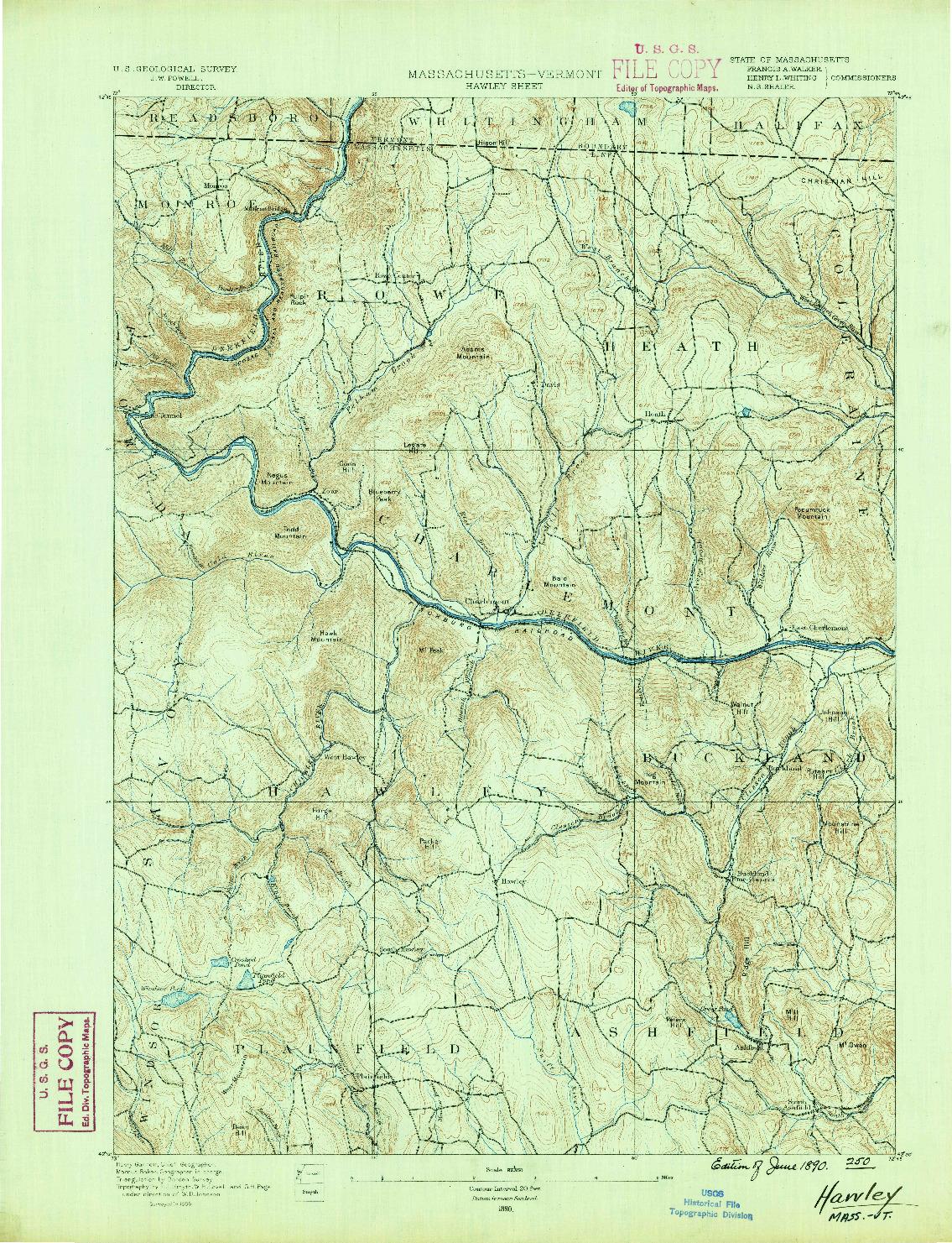 USGS 1:62500-SCALE QUADRANGLE FOR HAWLEY, MA 1890