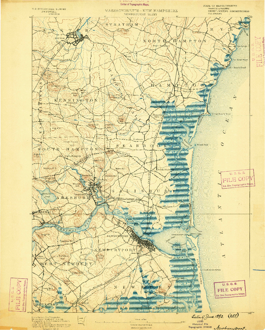 USGS 1:62500-SCALE QUADRANGLE FOR NEWBURYPORT, MA 1890