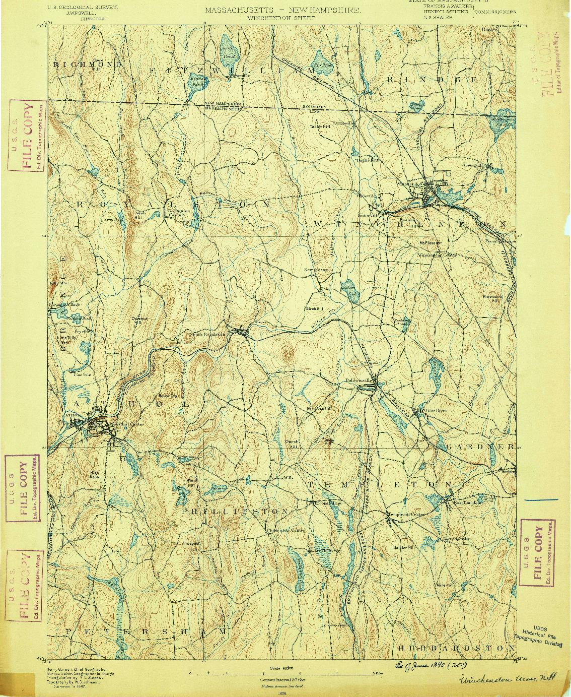 USGS 1:62500-SCALE QUADRANGLE FOR WINCHENDON, MA 1890