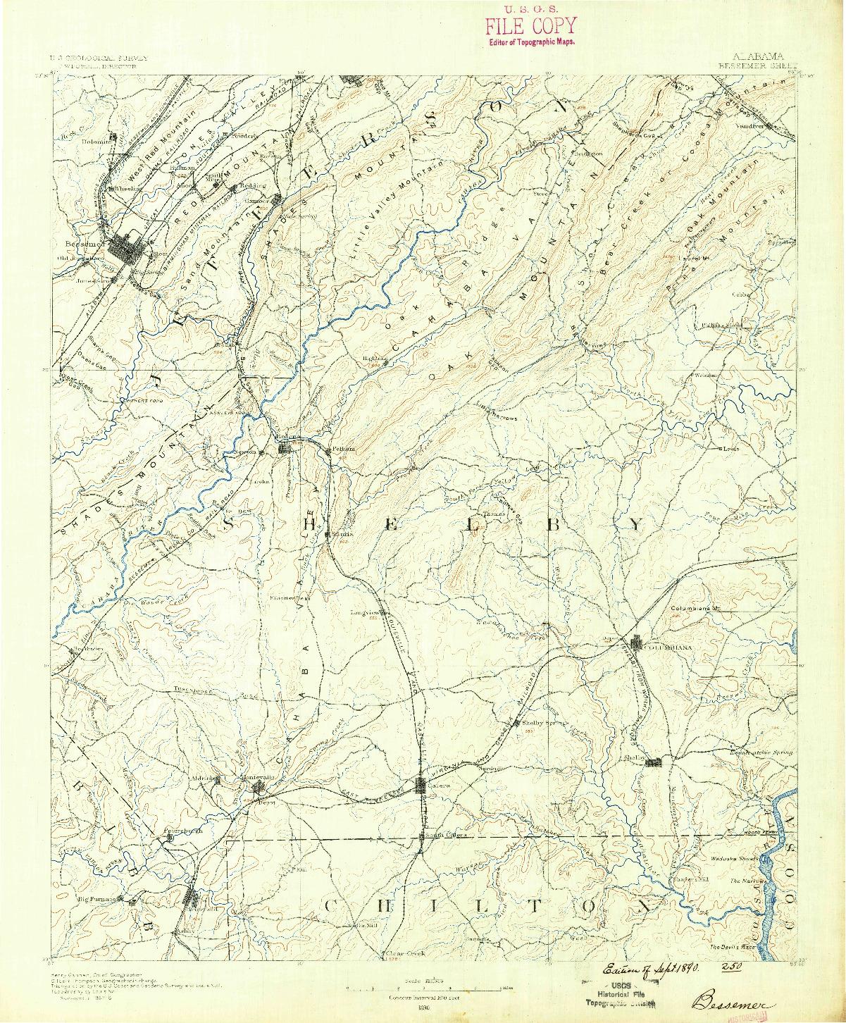 USGS 1:125000-SCALE QUADRANGLE FOR BESSEMER, AL 1890