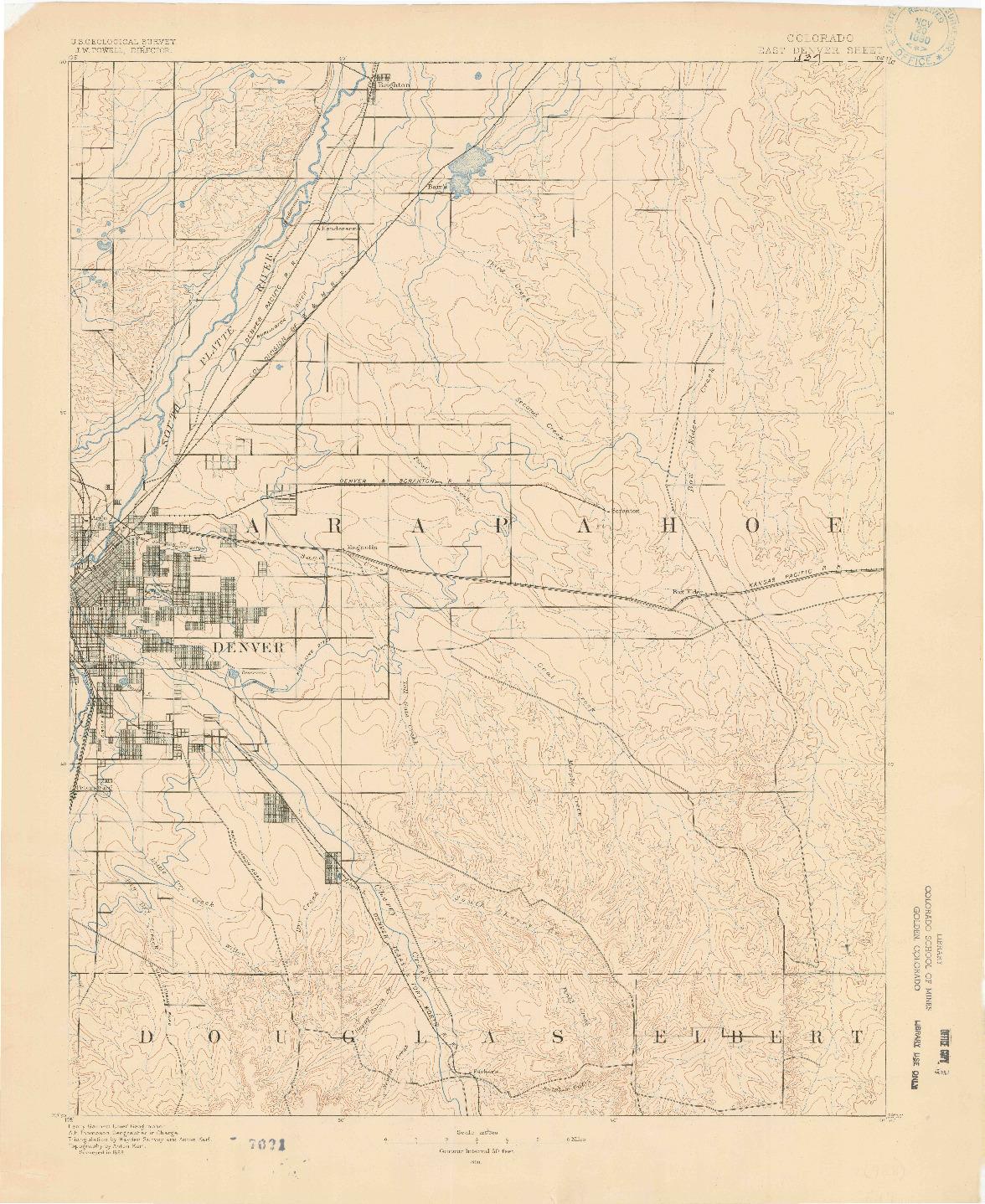 USGS 1:125000-SCALE QUADRANGLE FOR EAST DENVER, CO 1890