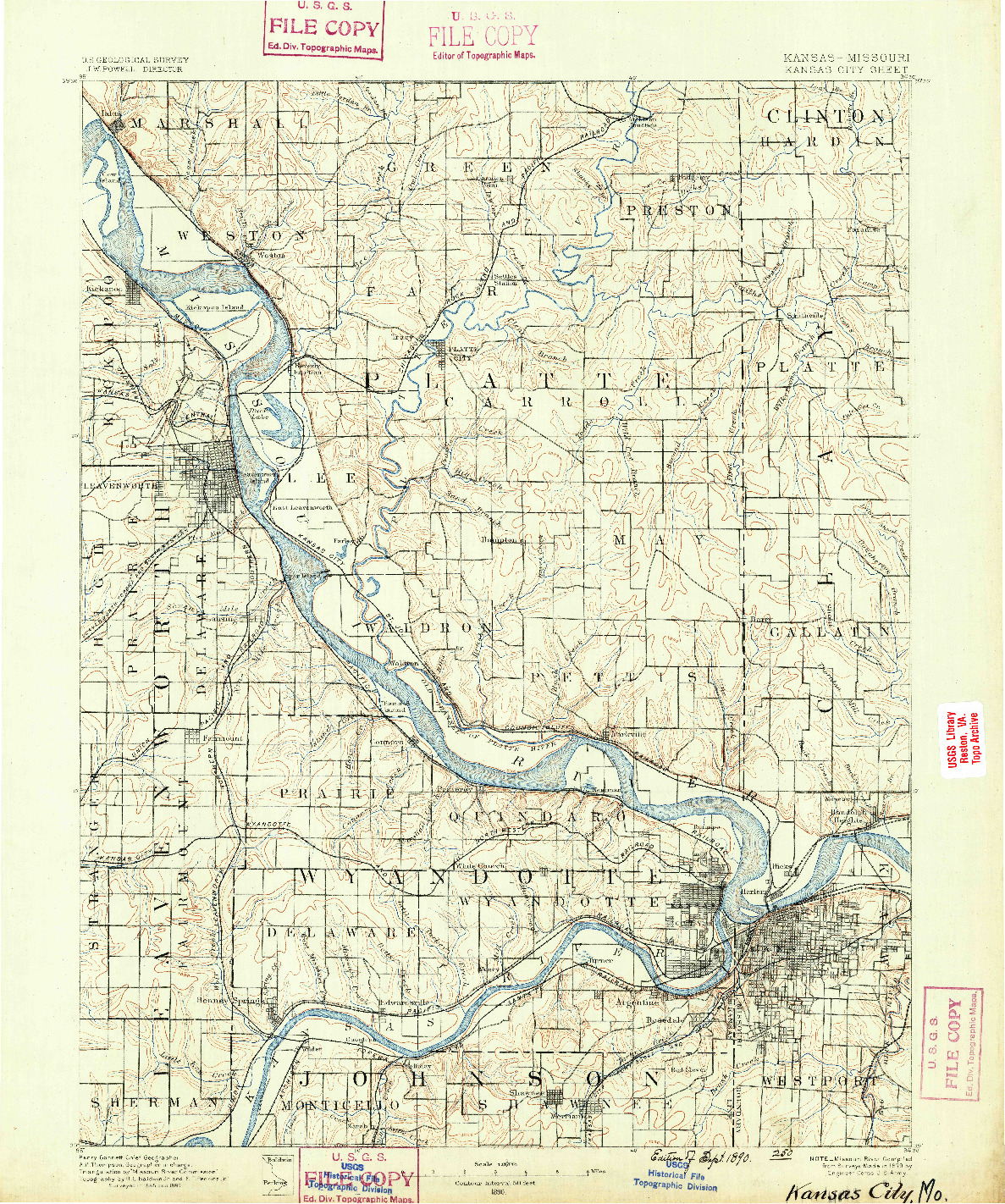 USGS 1:125000-SCALE QUADRANGLE FOR KANSAS CITY, KS 1890