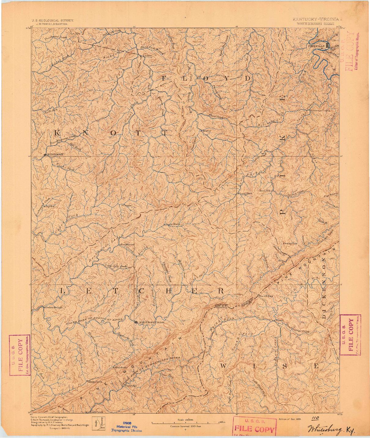 USGS 1:125000-SCALE QUADRANGLE FOR WHITESBURG, KY 1890