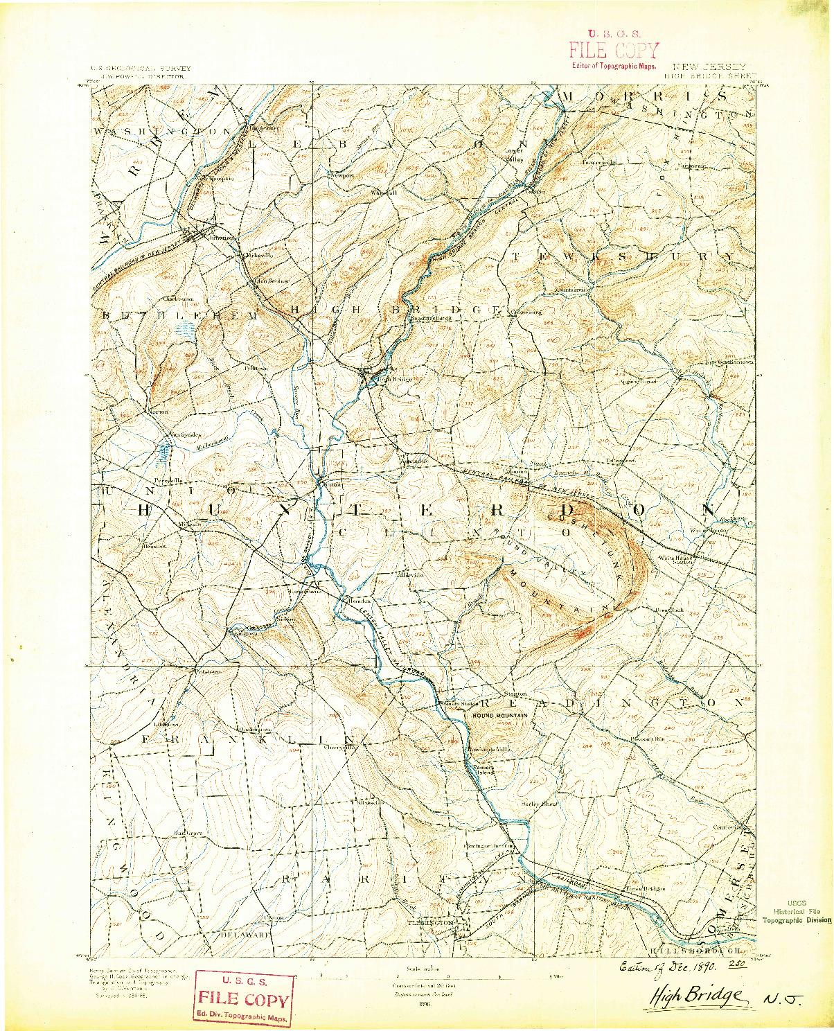 USGS 1:62500-SCALE QUADRANGLE FOR HIGH BRIDGE, NJ 1890