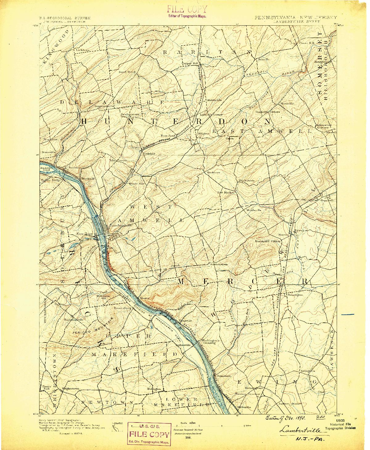 USGS 1:62500-SCALE QUADRANGLE FOR LAMBERTVILLE, NJ 1890