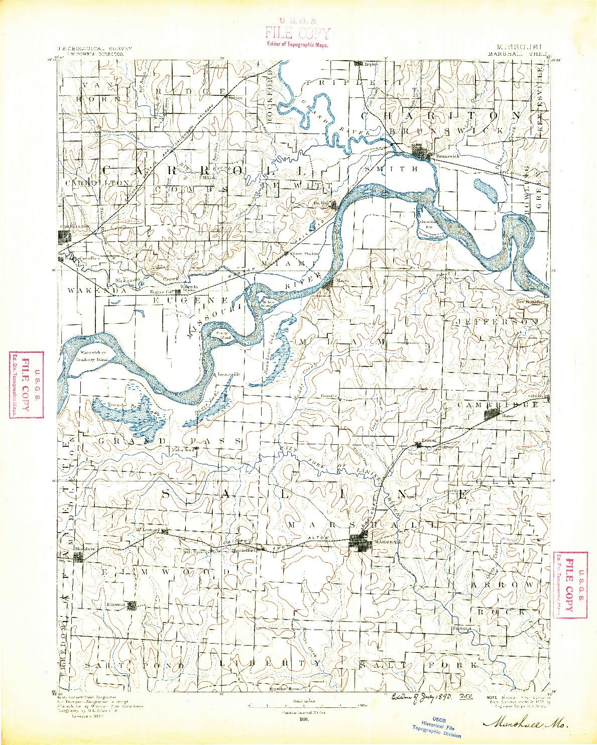 USGS 1:125000-SCALE QUADRANGLE FOR MARSHALL, MO 1890