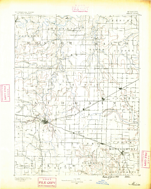 USGS 1:125000-SCALE QUADRANGLE FOR MEXICO, MO 1890