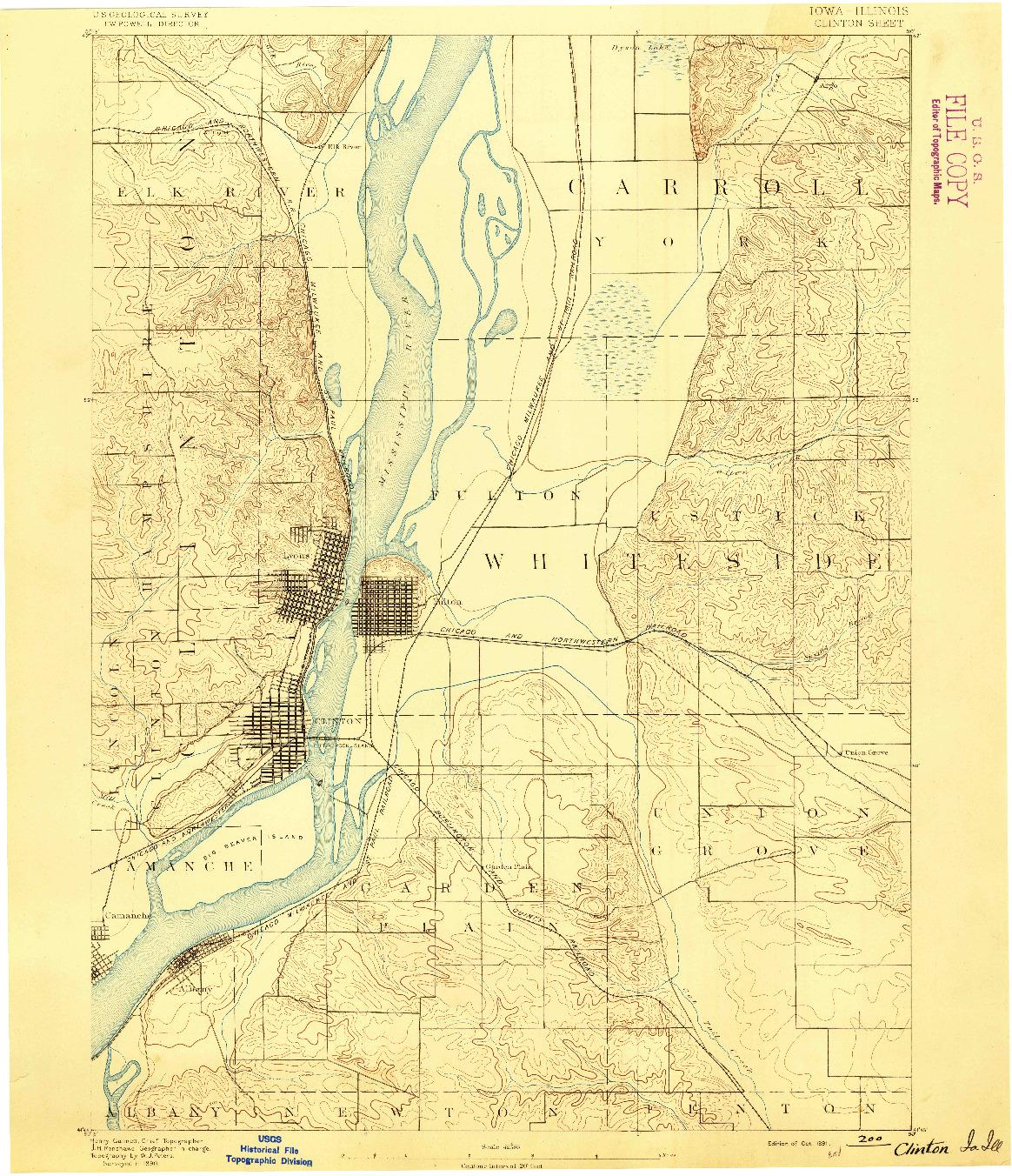 USGS 1:62500-SCALE QUADRANGLE FOR CLINTON, IA 1891