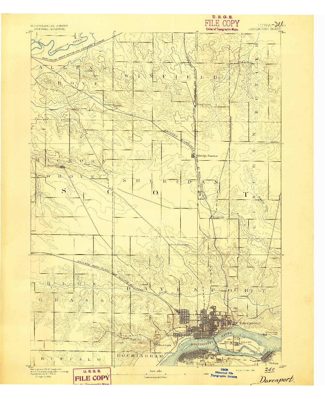 USGS 1:62500-SCALE QUADRANGLE FOR DAVENPORT, IA 1891