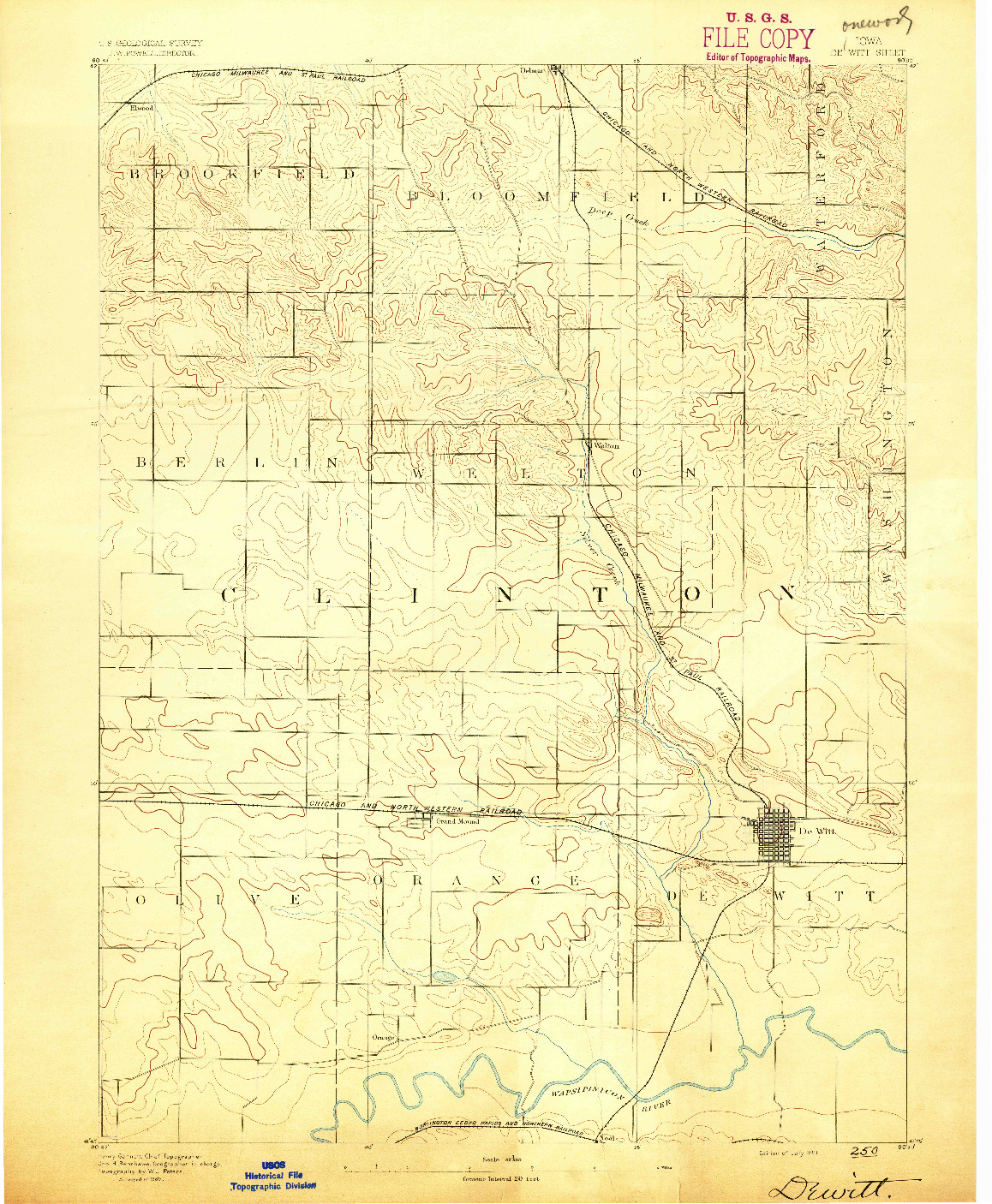 USGS 1:62500-SCALE QUADRANGLE FOR DEWITT, IA 1891