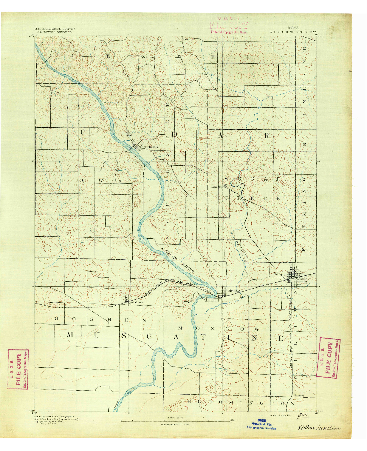 USGS 1:62500-SCALE QUADRANGLE FOR WILTON JUNCTION, IA 1891