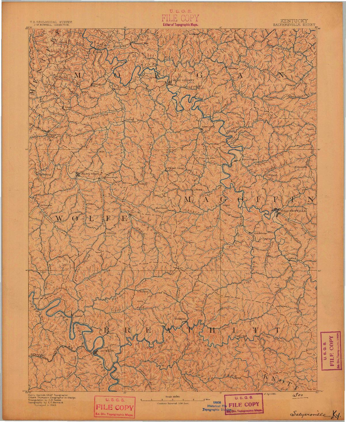 USGS 1:125000-SCALE QUADRANGLE FOR SALYERSVILLE, KY 1891