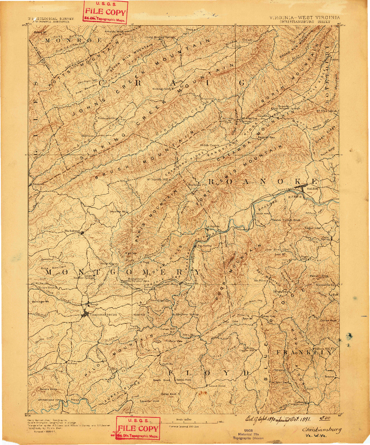 USGS 1:125000-SCALE QUADRANGLE FOR CHRISTIANSBURG, VA 1890